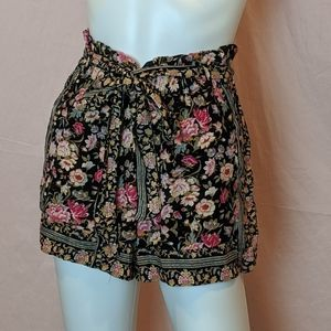 American Eagle Floral Tie Waist Shorts
